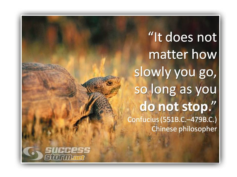 It does not matter how slowly you go - Confucius